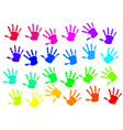 colorful hand print on white background vector image vector image