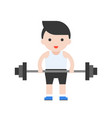 cute character weightlifter athlete with barbell vector image vector image