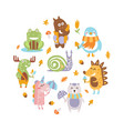 cute wild animals round shape snail moose vector image