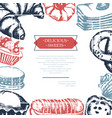delicious sweets - color hand drawn composite vector image vector image