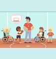 disabled kid sport happy children in gym vector image vector image