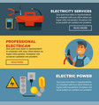 electricity repair service or professional vector image vector image