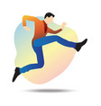flat a young businessman jumping vector image vector image