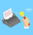 flat isometric concept of creative writing vector image