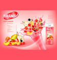 fresh fruits and forest berries in splash vector image