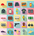 hiphop rap swag music dance icons set flat style vector image