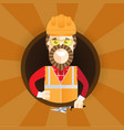 hipster builder with beard giving thumb up vector image