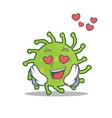 in love green bacteria mascot cartoon vector image