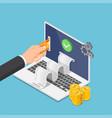 isometric businessman hand put credit card vector image