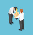 isometric businessman share idea to his friend vector image vector image
