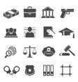 justice and law glyph icons set vector image