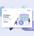 landing page template of 3d object settings vector image