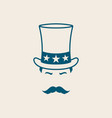 man in uncle sam hat for independence day vector image vector image