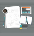paper with ruler pencil pen coffee tablet and vector image vector image