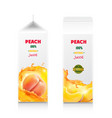 peach tropical fruit juice cardboard box package vector image vector image