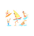 people characters having vacation and doing water vector image vector image