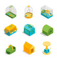 pet carriers signs 3d icons set isometric view vector image vector image