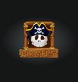 pirate skull icon in frame for game vector image vector image