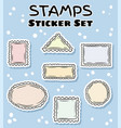 post stamp stickers set colorful label doodles vector image vector image