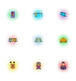 Railway transport icons set pop-art style vector image vector image