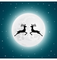 Reindeer on the background of the full moon vector image vector image