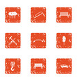 repair park icons set grunge style vector image vector image