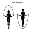 rope jumping exercise silhouette vector image vector image