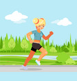 run outdoor park nature cute female girl running vector image vector image
