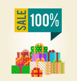 sale save 100 push buttons promo labels box gifts vector image vector image