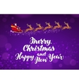 Santa Claus rides in sleigh in harness on reindeer vector image