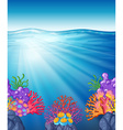 Scene with oean and coral reef underwater vector image vector image