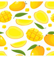 seamless pattern with cartoon mango vector image vector image