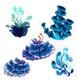 set colorful marine cartoon algae and coral vector image
