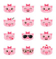 set happy pigs emojis vector image