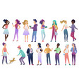 set of young male and female people in vector image vector image