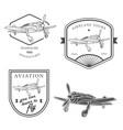 set vintage airplane labels badges and design vector image