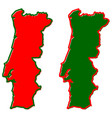 simplified map of portugal outline fill and vector image vector image