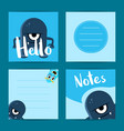 square note cards set with cute cartoon vector image