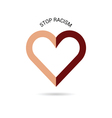 stop racism with heart vector image vector image