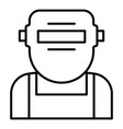 welder mask face icon outline style vector image vector image