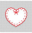 white paper cut heart sticker with white lacing vector image