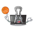 with basketball binder clip in the character shape vector image vector image