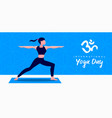 yoga day banner woman in warrior pose vector image vector image