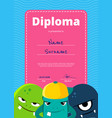 children diploma or certificate with cute vector image