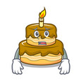 afraid birthday cake mascot cartoon vector image vector image