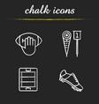 american football chalk icons set vector image