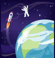 astronaut and earth with ship vector image vector image