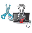 barber binder clip in the character shape vector image vector image