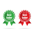 best seller flat ribbons green and red isolated vector image