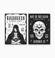 black and white design scary posters vector image vector image